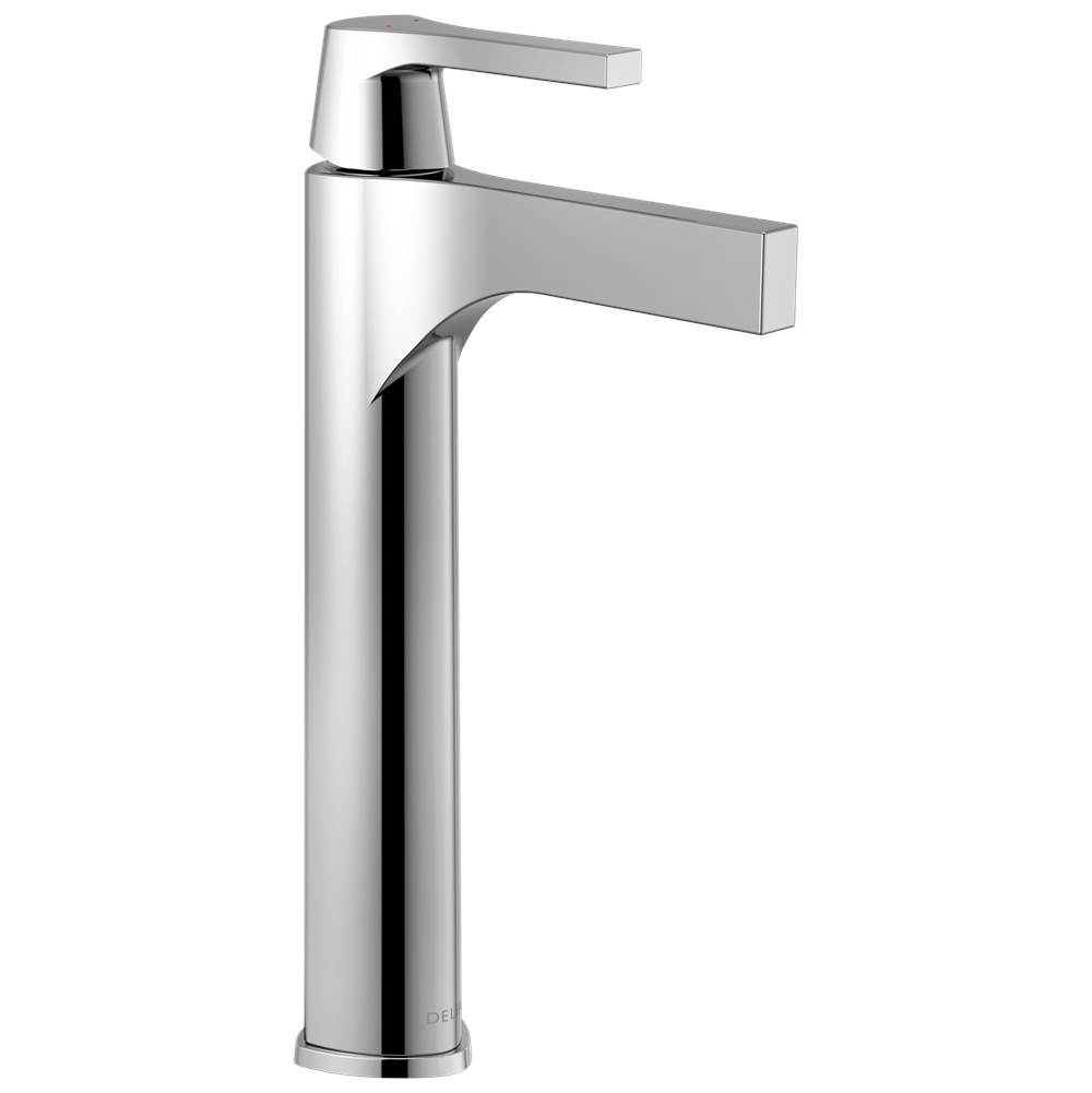 ss hole with single brilliance victorian includes delta application assembly vessel waterfall stainless bathroom riser less drain lifetime shot warranty faucet